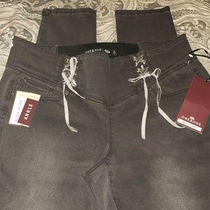 [one 5 one] Corset Waist High Rise Skinny Jeans